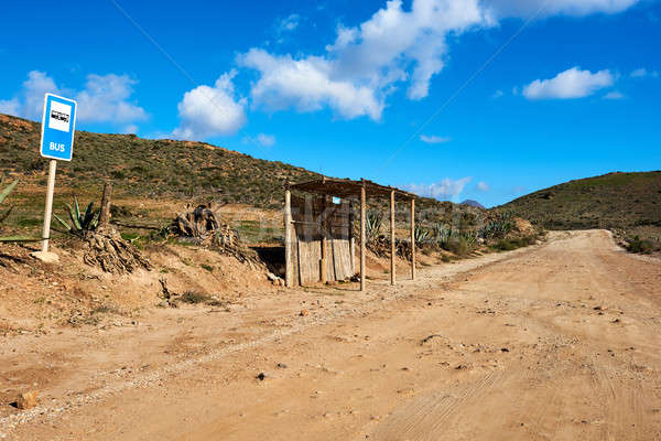 Bus stop station near San Jose village. Province of Almeria Stock photo © amok