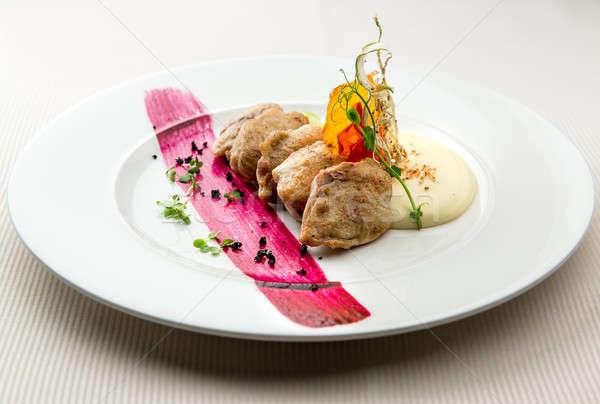 Quail breast with potato puree and blackcurrant sauce Stock photo © amok
