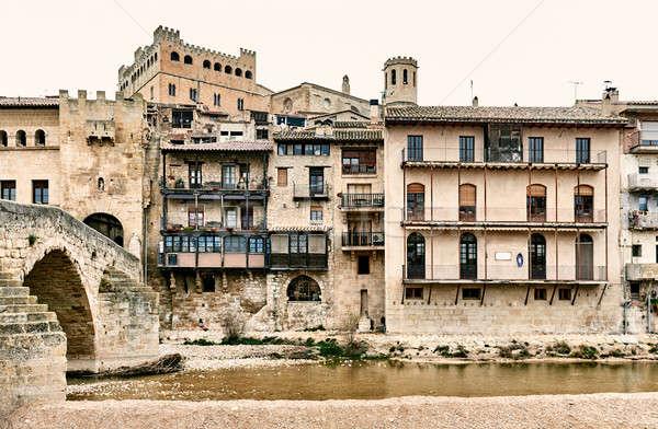 Medieval architecture of Valderrobres town. Spain Stock photo © amok