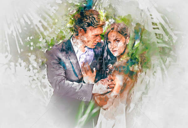 Digital watercolor painting of a beautiful couple in love  Stock photo © amok