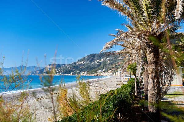 Empty beach. Province of Savona, Liguria. Italy Stock photo © amok