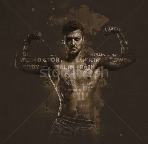 Athletic handsome man showing biceps muscles.  Stock photo © amok