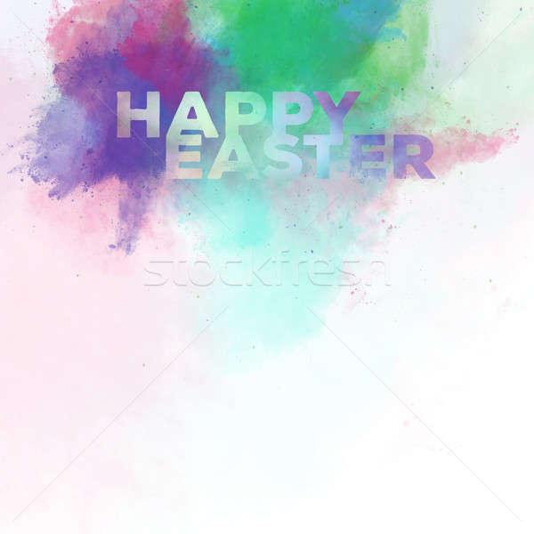 Kellemes húsvétot vízfesték digitális művészet terv kék Stock fotó © amok