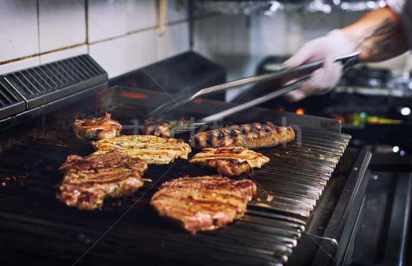 Assorted meat on the barbecue grill Stock photo © amok