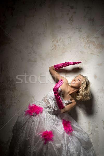 Lovely woman wearing bridal white dress posing indoors Stock photo © amok