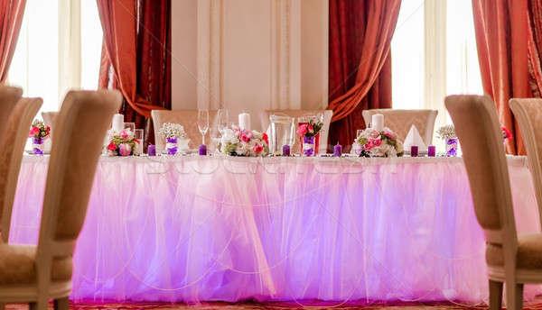 Luxe bruiloft banket restaurant bloem mode Stockfoto © amok