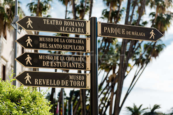 Tourist signpost in Malaga. Andalusia, Spain  Stock photo © amok