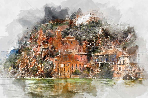 Digital watercolor painting of Miravet village. Spain Stock photo © amok