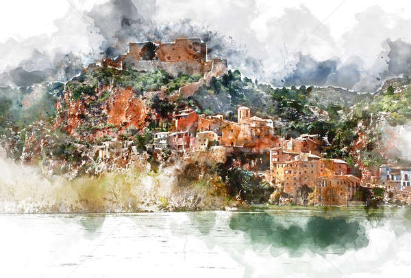 Digital watercolor painting of Miravet village. Miravet is one of the most charming village in Catal Stock photo © amok