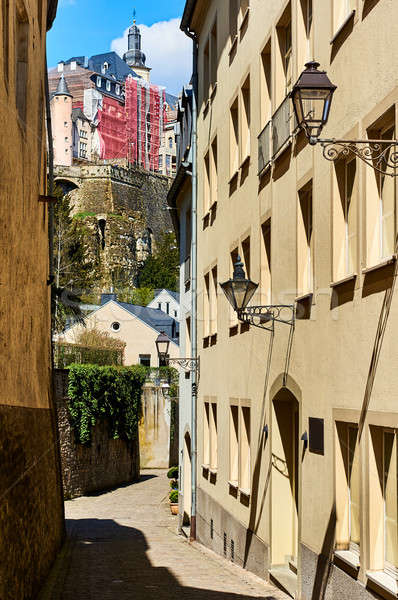 Charming narrow street in old town of Luxembourg. Western Europe Stock photo © amok