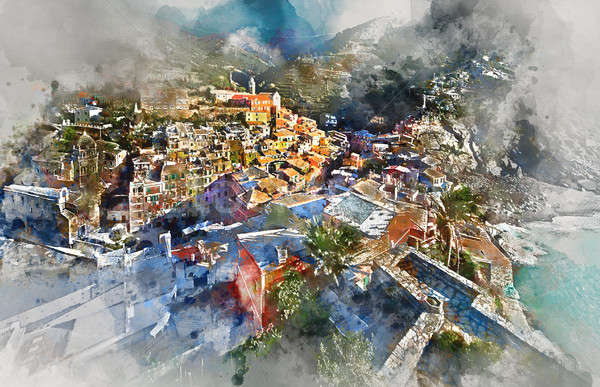Digital watercolor painting Vernazza. Italy Stock photo © amok