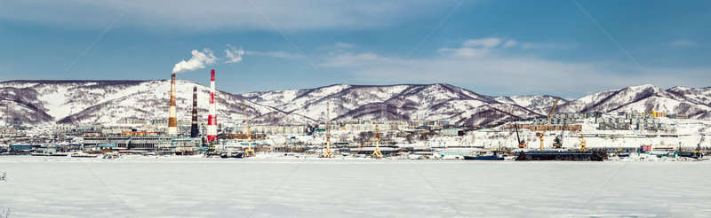 Panoramic view of Petropavlovsk-Kamchatsky seaport and power plant Stock photo © amok