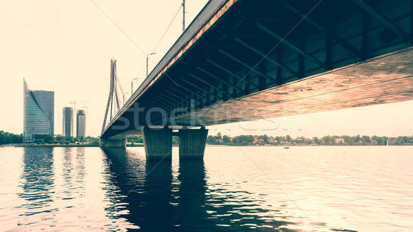 Cable-stayed bridge across Daugava river in Riga, Latvia. Stock photo © amok