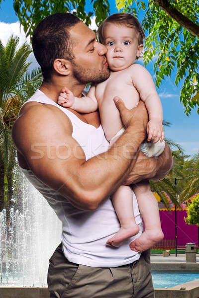 父 キス 娘 少女 赤ちゃん 子供 ストックフォト © amok
