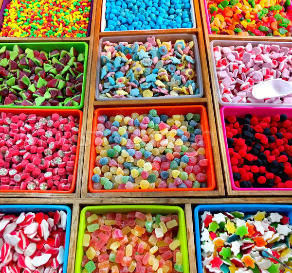 Variety of multi colored jelly candies in a candy shop Stock photo © amok