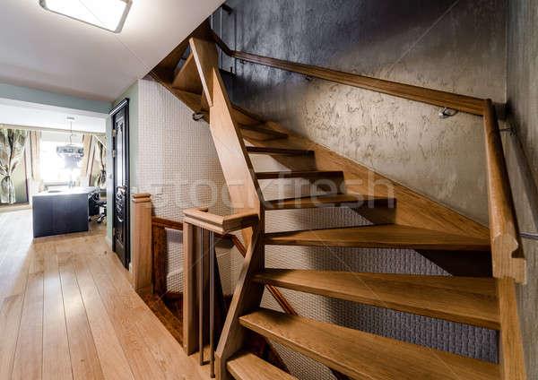 Ahşap merdiven ev duvar ışık dizayn Stok fotoğraf © amok