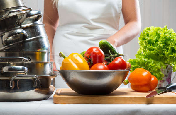 Raw vegetables and kitchen utensil close-up Stock photo © amok