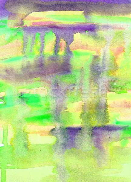 Foto stock: Aquarela · abstrato · pintura · amarelo · violeta · verde