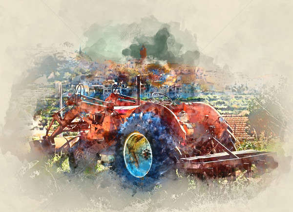 Digital watercolor painting of old tractor against village background. Polop de la Marina village in Stock photo © amok
