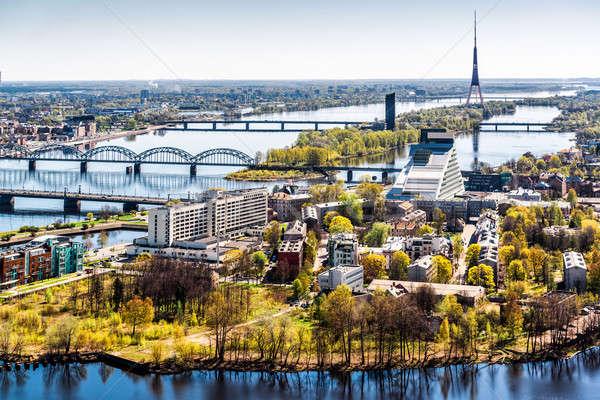 Panorama Riga stad Letland business hemel Stockfoto © amok