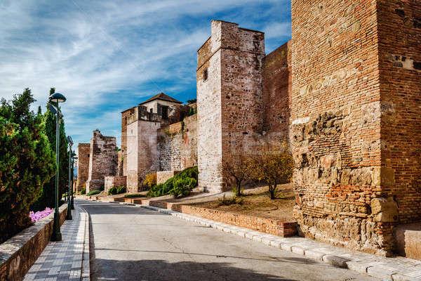 Erőd Malaga város Spanyolország tégla Európa Stock fotó © amok