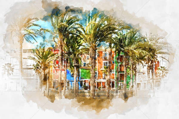 Digital watercolor painting of Villajoyosa town, Spain Stock photo © amok