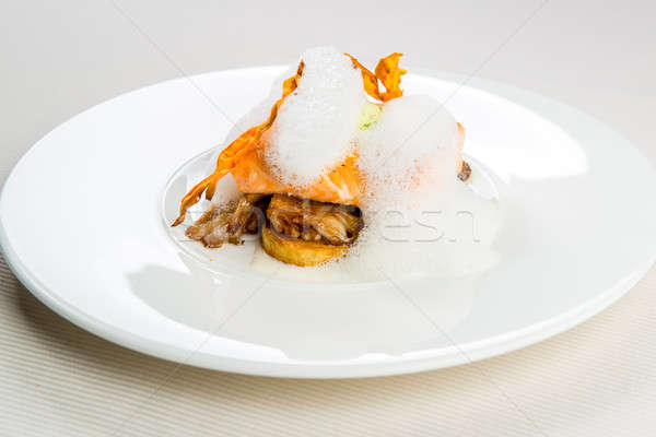Roasted trout infused with milk foam Stock photo © amok