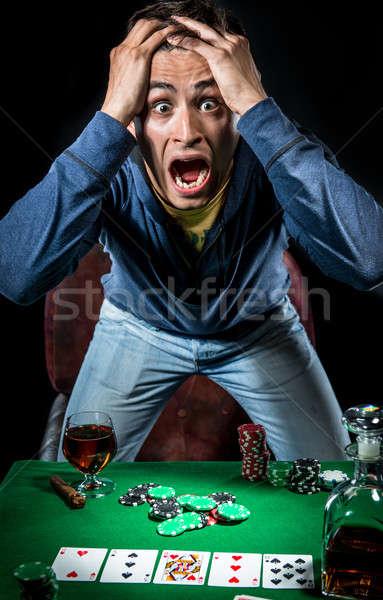 Kumarbaz adam kumarhane poker stres tek başına Stok fotoğraf © amok