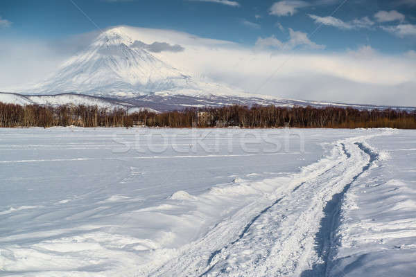 Koryaksky volcano and surrounding snow-covered countryside Stock photo © amok