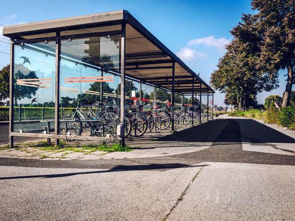 Stockfoto: Fiets · parkeren · stad · sport · straat · fiets