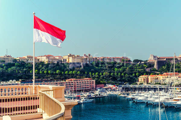 Bandeira Mônaco ver porta água vermelho Foto stock © amok
