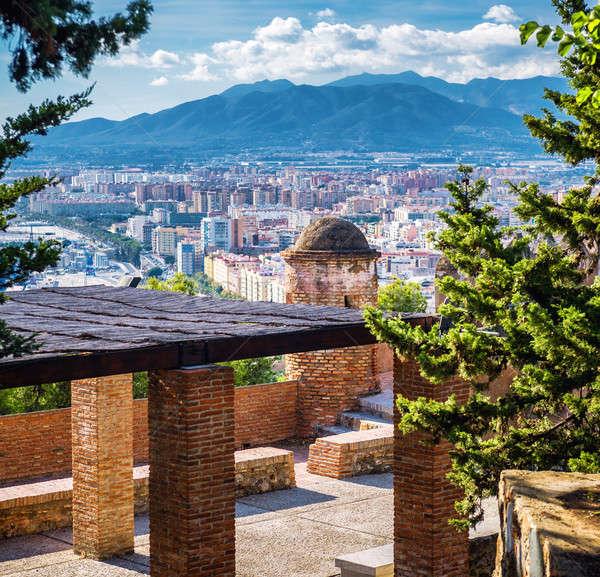 Malaga cityscape, view from the Gibralfaro fortress Stock photo © amok