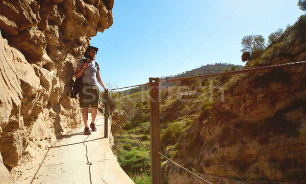 Man traveler walking on a wooden footbridge on a mountains Stock photo © amok
