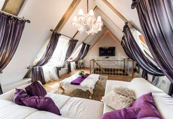 Interior of fashionable living room in the attic Stock photo © amok