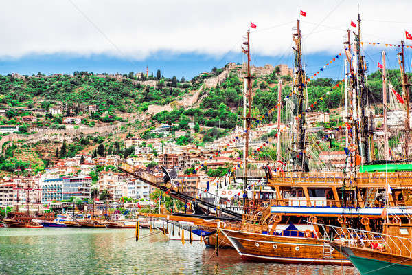 View of The Kizil Kule (Red Tower) and harbor. Alanya, Turkey  Stock photo © amok