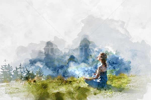 Genç kadın uygulama yoga dijital suluboya boyama Stok fotoğraf © amok