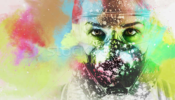 Portrait of a woman with protective filter mask.   Stock photo © amok
