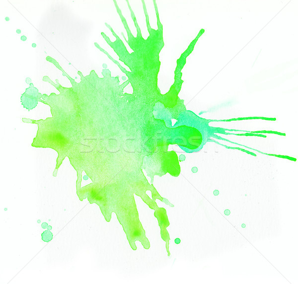 Groene aquarel spatten witte papier textuur Stockfoto © amok