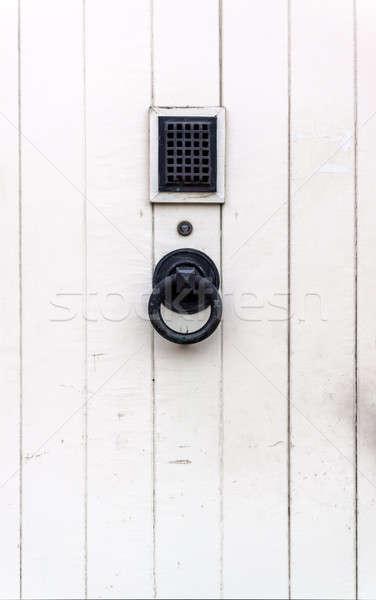 Wooden white door with black metal handle Stock photo © amok
