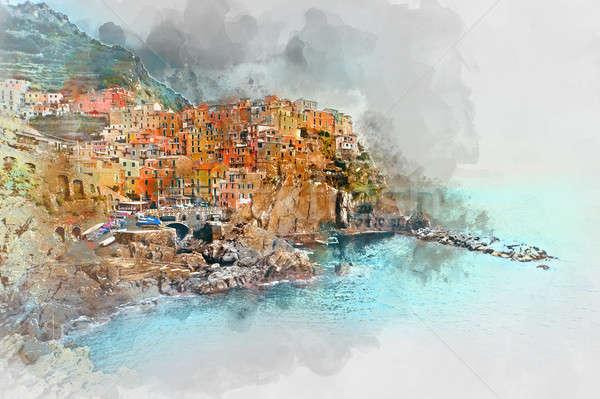 Digital watercolor painting of Manarola Stock photo © amok