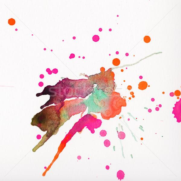 Multicolored watercolor splashes over white background Stock photo © amok