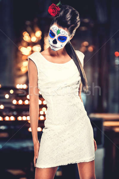 Day of the dead girl with sugar skull makeup  Stock photo © amok