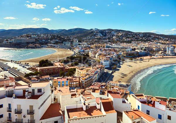 Pittoresque vue deux plages Espagne château Photo stock © amok