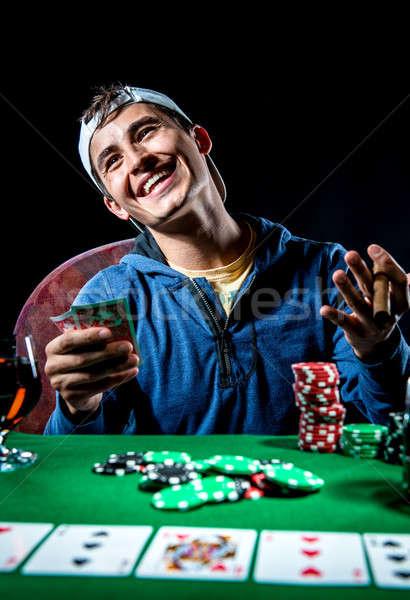 Derűs póker játékos férfiak fiatal siker Stock fotó © amok