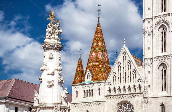 Holy Trinity Column in front of Matthias Church. Budapest, Hungary Stock photo © amok