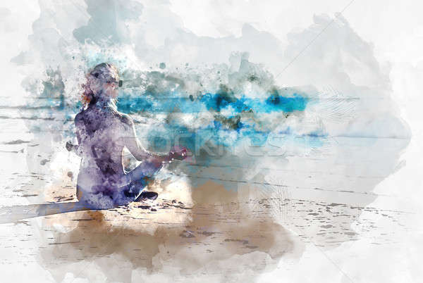 Young woman meditating on the beach, digital watercolor painting   Stock photo © amok