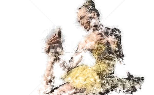Ballerina. Digital charcoal drawing Stock photo © amok