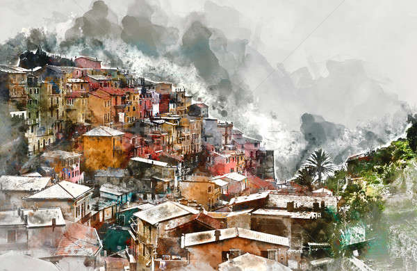 Digital watercolor painting of Manarola Stock photo © amok