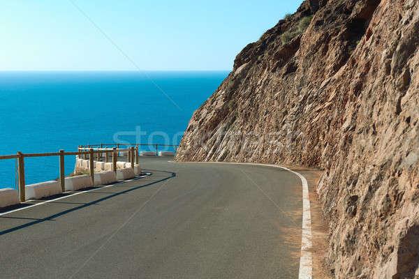 Stock photo: Empty mountain winding road
