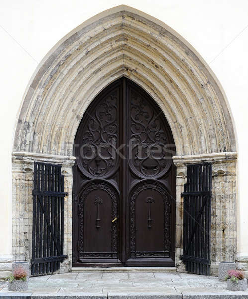 Ancient wooden door design in old city in Tallinn, Estonia Stock photo © amok